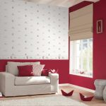 amazing red and white peel and stick paper idea with ladded and white sofa and white pouff and creamy floor
