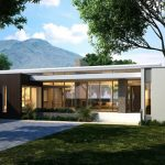 astonishing white single level house plan idea with open concept and concrete walkway and lush vegetation