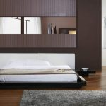 awesome low profile platform bed frame in wonderful bedroom ideas decorated with bedside table and hardwood floor and grey furry rug and black bench
