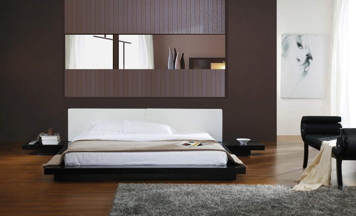 Awesome Low Profile Platform Bed Frame In Wonderful Bedroom Ideas Decorated With Bedside Table And Hardwood