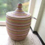 awesome senegalese storage baskets with colorful pattern cheering up home decoration