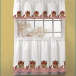 awesome white jcpenney kitchen curtain design with sleeve and strawberry bunch pattern and pink accent