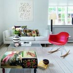 Beautiful Scandinavian Interior Design Idea With White Sectional Sofa Design And Patterned Ottoman And Cushiosn And Red Modern Ikea Rocking Chair