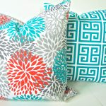 beautiful turquoise target outdoor cushion idea with scandinavian pattern and floral pattern in square shape