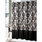 black-and-white-victorian-shower-curtain-and-white-floor-and-flowers-and-towels-and-brown-carpet