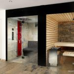 black beige bathroom idea with walk in shower and sauna idea with flashing red accent