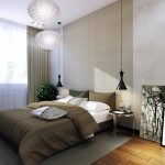 black-hanging-bedside-lamps-and-white-pendant-lamps-and-grey-curtain-and-chair-and-blue-light-pillow-and-indoor-plant-and-wooden-floor