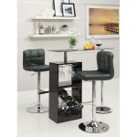 black-versatile-pub-table-set-by-wildon-home-featured-with-wine-rack-and-frosted-glass-top-surrounded-with-white-wall-and-white-floor-