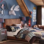 blue loft pottery barn for teen with shabby chic bedding and rustic wooden headboard and oranment and brown area rug