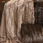 brown faux fur blanket queen with adorable motif decorated in bedroom