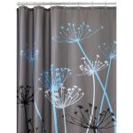 classy gray nature shower curtain design with dandelion pattern in white black and blue color