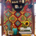 colorful hallway decoration idea with moroccan style and wooden console table and wall storage and stationary