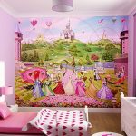 Colorful Princess Bedding Idea With Heart Shaped Sheet Design And Pink Dresser And Glass Window And Wall Princess Painting And Brown Flooring