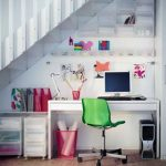 colorful undesratirs office design with wall racks and white desk and file cabineta nd green swivel chair and ombre pink area rug and white stairs