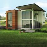 comfortable country dream house design with concrete and wooden combination with open concept with lush grassy meadow