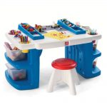 complete blue art table for kids idea with red stools and pencil storage and color palette