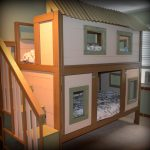 creative-DIY-tree-house-bunk-bed-with-four-windows-and-use-staircase-in-white-and-brown-color-themed