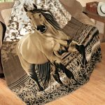 creative creamy harry potter throw blanket design with horse picture on creamy couch on wooden floor