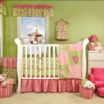 cute-and-sweet-baby-girl-bedroom-with-the-combination-of-pink-and-green-color-with-white-crib-and-white-dresser