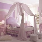 cute-beautiful-princess-bedroom-themed-for-girls-with-canopy-bed-and-purple-themed-with-purple-door-and-purple-wall-and-purple-dresser-also-purple-cushion-and-white-stools