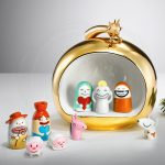 cute modern nativity set shaped like toys in golden ball storage
