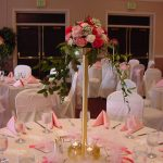 distinctive-and-pretty-flower-tower-on-the-head-as-centerpieces-of-the-wedding-reception-table- decoration-ideas-with-tall-and-gold-color-of-stand-also-chairs-and-tables-all-in-white