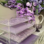 Elegant And Classy Acrylic Scrapbook Paper Organizer  Idea With Three Drawers With Floral And Polka Dot Pattern In Purple Color Aside Orchid