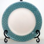 Elegant Blue Polka Dot Dishes For Plate Idea With Scrolled Iron Stand