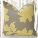 elegant combination of yellow floral pattern on silk gray fabric of target outdoor cushion