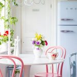 elegant corner booth dining set idea with round table and pink chair and blue wooden chair and glass window and bulb