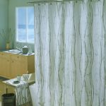 elegant white bohemian shower curtain design with wooden pattern aside wooden vanity beneath glass window