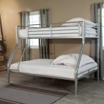 elegant white convertible bunk bed idea with stairs and metal frame and white pillows and mattress and wooden floor
