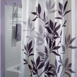 Elegant White Nature Shower Curtain Design With Plants Pattern In The Bathroom