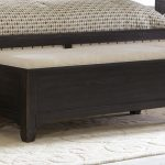 end of bed storage bench with black finishing for comfy bedroom ideas with beige rug area and pretty bedding