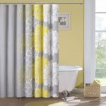endearing bohemian shower curtain design with gray yellow white combination and yellow wall paint and white tub and glass window