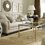 Ethan Allen Leather Furniture Decorating Ideas In Elegant Living Room Idea With Tufted Sofa And Striped Armchair And Classy Rug Area And Coffee Table With Glass Top