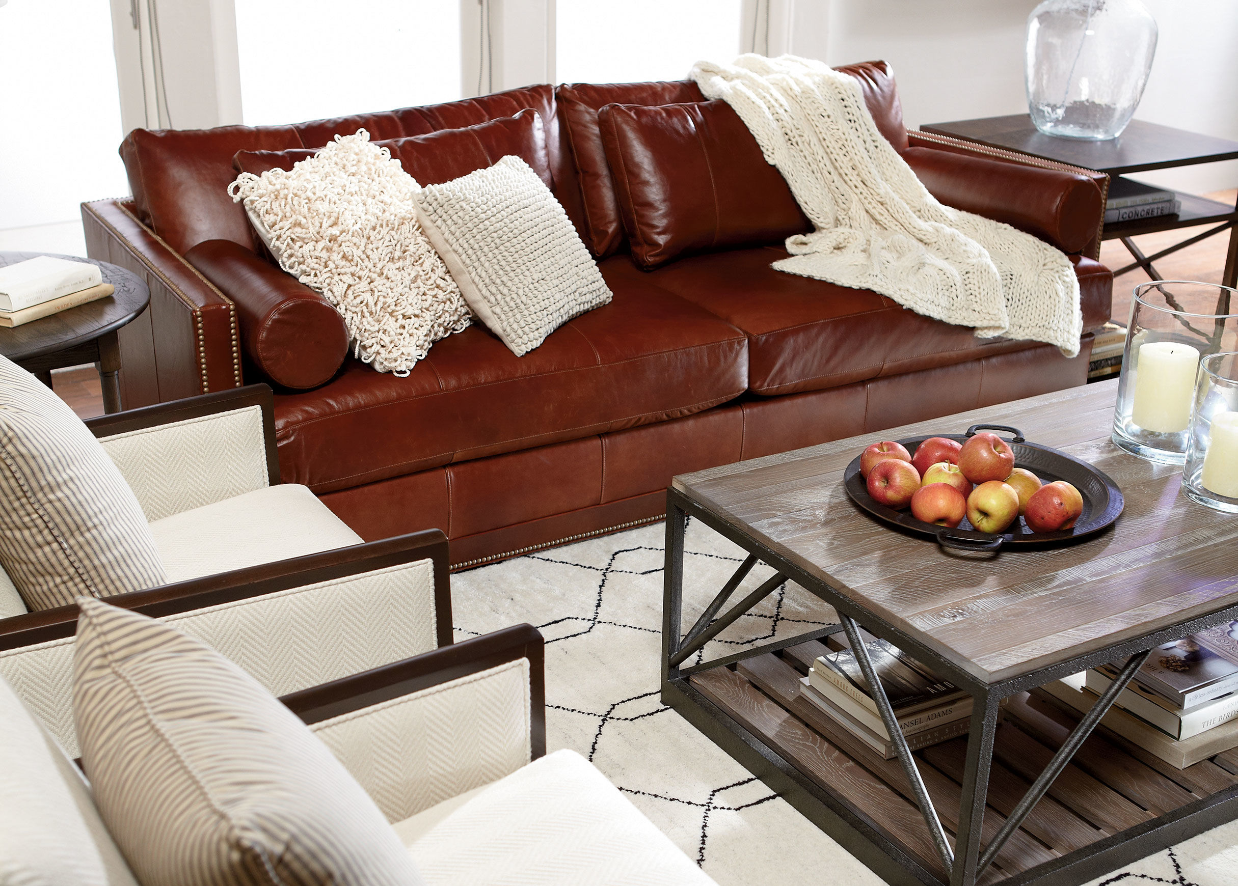 Ethan Allen Leather Furniture With Brown Sofa Completed Comfy Cushions And Blanket Plus Rustic