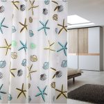 Exotic Ocean Theme Nature Shower Curtain With Starfish And Shell Pattern In Yellow Blue Brown And Black
