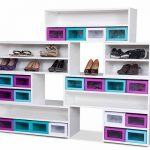 Fancy Box Base Shoe Rack Cabinets For Girls With Colored Boxes Like Purple Cyan And White Colors For Heels And Sporty Shoes