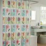 floral patternd bohemian shower curtain idea with plaid color and curved rod and white concrete vanity ad glass window and wall mirror