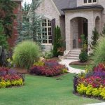 front yard landscape plans with colorful plants and green grasses and pretty house with wonderful design