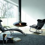 gorgeous black leather ikea rocking chair design on gray area rug with fireplace and open plan