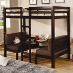 gorgeous bold black wooden loft bed with desk idea with sofa and gray rug and white patterned bedding and wooden floor