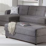 gorgeous gray sectional sofa design with chaise and white patterned sofa and ottoman coffee table with storage and gray area rug
