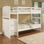 gorgeous white low profile bunk bed idea with storage and wooden floor and textured area rug and beige siding