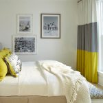 gorgeous yellow and gray bedroom decor with white bedding and yellow pillows and gray yellow curtain idea with target frame picture