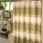great ombre bohemian shower curtain design with green yellow and white color and stripe pattern aside freestanding sink and wall mirror