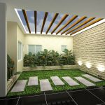 Indoor Courtyard Of Home And Garden Catalog Idea With Skylight And Concrete Walkway And Grassy Meadow And Shrub