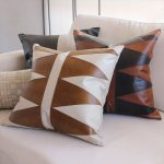 leather pillow case idea with modern patterns for couches