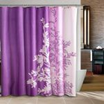 Long And Wide Shower Curtain Liner With Purple And Pink Color And Flower Picture Cover The White Bathtub